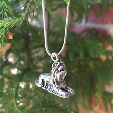 """Yorkshire Terrier Yorkie Dog  .925 Sterling Silver 20"""" Chain Necklace"""