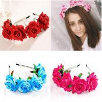 Rose Flower Crown Wedding Festival Headband Hairband Floral Garland Headpiece FE
