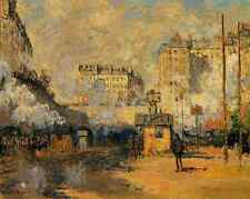 Saint Lazare Station - Monet 8x10 Print Railroad Paris Train Smoke Sunlight 156