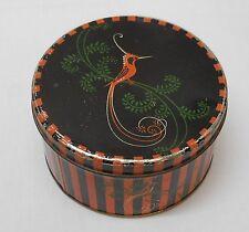 Bird Black and Orange Stripe Tin Container Fancy Bird Vintage