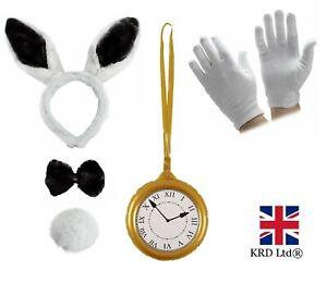WHITE RABBIT COSTUME Hare Fancy Dress Kids Adult Wonderland Book Week Outfit UK