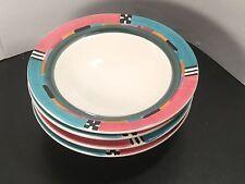 A Mallory - Alegre - Soup Bowls - FOUR - 4 - Art Pottery - Hand Painted - Ann