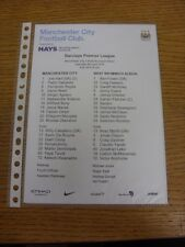 09/04/2016 Colour Teamsheet: Manchester City v West Bromwich Albion  . Thanks fo