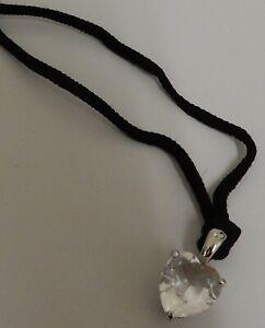Swarovski Crystal Rhodium Plated Heart Shaped Pendant on Black Cord