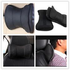2 Pcs Genuine Leather Double Layer Autos Neck Rest Headrest Pillow Cushion Black