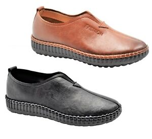 Women's Comfort Leather Shoes Rubber Sole Black Tan Size 5-10 New