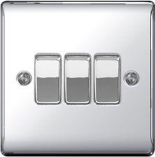 BG Nexus Metal 10ax Plate Switch - 2 Way 3 Gang - Polished Chrome - FREE P&P