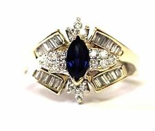 14k yellow gold .40ct SI1-SI2 H diamond sapphire womens ring 4.8g estate