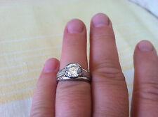 Platinum Designer Engagement Ring Bezel Custom Made USA sz 7.75 Modern Classic
