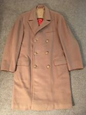 "Mens Valstar 100% Wool Tan Trench Coat, Made In Italy, Size 44""-46"""