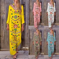 Summer Women Boho Casual Long Sleeve Cotton Linen Kaftan Dress Long Dresses