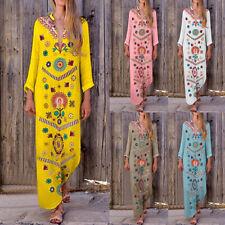 Summer Women Boho Casual Long Sleeve Cotton Linen Kaftan Dress Long Dresses