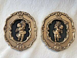 Vtg Chalkware Pair Wall Art 3D Cherubs Felt ARNART Basket Fruit Gold 2 pc Plaque