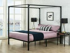Zinus Four Poster Strong Steel Bed Frame with Canopy - Black