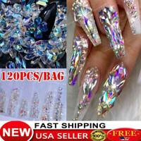 120Pcs/Set Crystal Rhinestone 3D Glitter Jewelry Glass Diamond Nail Art Gems USA