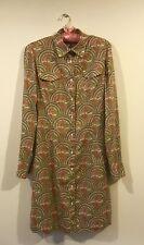 0039 ITALY - Art Deco Designer Dress /Long Blouse/ Shirt 100% Cotton. Small