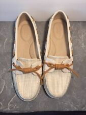 Sperry Top-Sider, Boat style Shoes, Beige Canvas Woman's Size 6.5