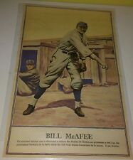 "Rare 1928 Boston Braves Player Bill Mcafee French Poster 10-3/8"" x 16-3/8"""