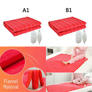 Electric Heated Throw Over Under Blanket Washable Flannel Cozy Warm Mattress