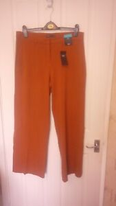 BNWT LADIES STUNNING MARKS AND SPENCER COLLECTION TROUSERS DARK TAN SIZE 14 LEG