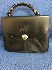 AUTHENTIC SERGIO ROSSI SATCHEL HANDBAG PURSE  Black Gold Trims