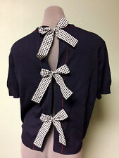 $835 Miu Miu Gingham Bows Embellished Split Open Back Navy Blue Red Sweater 40