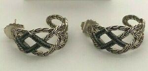 John Hardy Silver Chain & Gem Hammered Heritage Designed Hoop Earrings Pierced