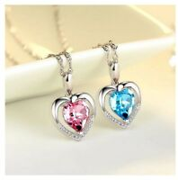 """925 Sterling Silver CZ Crystal Heart Love Pendant Necklace 18"""" Chain Gift Box J3"""