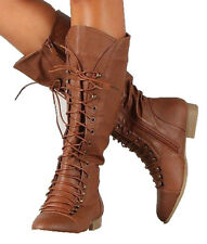 NEW 6 TAN KNEE HIGH COMBAT RIDDING LACE UP STRAP WOMAN BOOT LOW HEEL SHOE C39