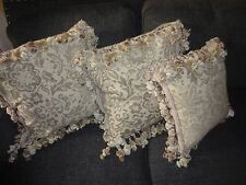 DECORATIVE LIGHT SAGE GREEN CHENILLE PAISLEY EMBELLISHED (3) THROW PILLOWS