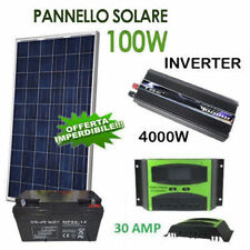 KIT FOTOVOLTAICO 1KW INVERTER 4000W PANNELLO 100W ENERGIA SOLAR BATTERIA 80 AMP