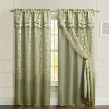 One Piece Sage Green Window Curtain Panel: Attached Valance and Backing, Floral
