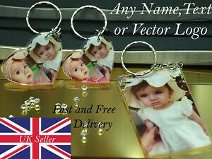 Photo Keyring personalised with any photo text logo cute acrylic