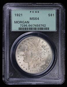1921 Morgan Silver Dollar $1 PCGS MS64 OGH | Old Green Holder