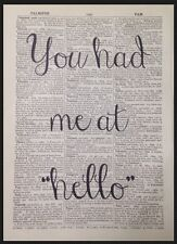Love Quote Print Vintage Dictionary Page Wall Art Picture You Had Me At Hello