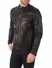★Giacca Giubbotto Uomo in di PELLE 100% Men Leather Jacket Veste Homme Cuir w91