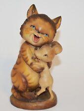 "Rare Anri Ferrandiz Woodcarving ""New Friends"" Cat & Mouse Hugging 6"" Figurine"