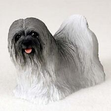 Lhasa Apso Dog Figurine gray puppy Hand Painted Collectible Resin Statue New