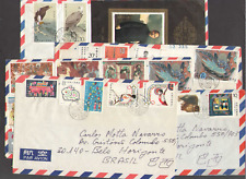 PRC. Beijing to Brasil. Year of 1987 Airmail Postal Cover. Lot of 5.