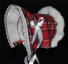 Red and Blue Plaid Sherpa Lined Cold Weather Bonnet