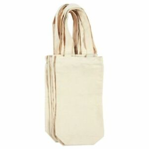 6-Pack Wine Bottle Tote Carrying Bags Cotton Canvas Travel Gift Bag Off-White