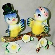 Vtg Anthropomorphic Bluebirds Bride & Groom Lefton? Figurine Japan