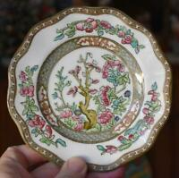 LOVELY COALPORT INDIAN TREE BREAD PLATE #3 WITH SINGLE GREEN CROWN HALLMARK HV 4