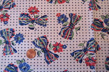 One VINTAGE FEEDSACK * BOWS & POLKA DOTS * FLOWERS  37x44 CLEANED! PRESSED!