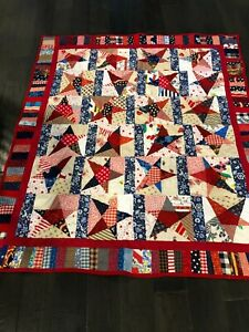 """Homemade Blue, Red and White Stars and Strips Rustic Farmhouse Quilt-55"""" x 48"""""""