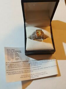 Brazilian 2.9ct Citrine 925 Sterling Silver Ring (Size 7-7.5) Gems TV