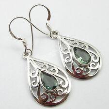 BESTSELLER !! 925 Solid Silver Authentic APATITE CELTIC PIERCED Earrings 3.7 CM