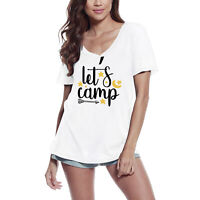 Femme T-shirt Let's Camp - Camping Aventure Tee-shirt à manches courtes