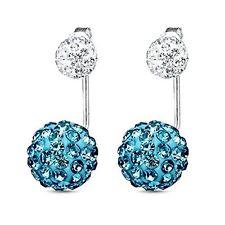 Earrings Jacket Ear Stud Reverse Crystal Paved Ball Jewelry Set