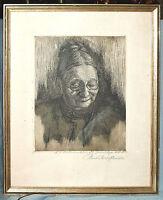 Radierung Bernhard Paul Scheffler, Bildnis seiner Mutter, gerahmt